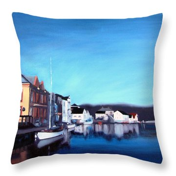 Throw Pillow featuring the painting Farsund Dock Scene I by Janet King