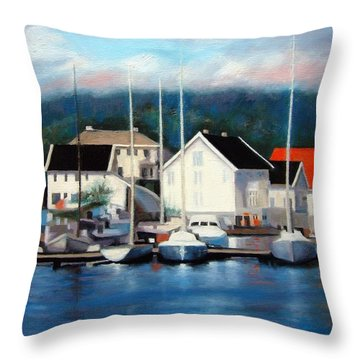 Farsund Dock Scene Painting Throw Pillow
