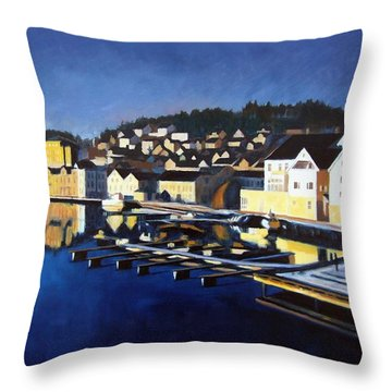 Throw Pillow featuring the painting Farsund In Winter by Janet King