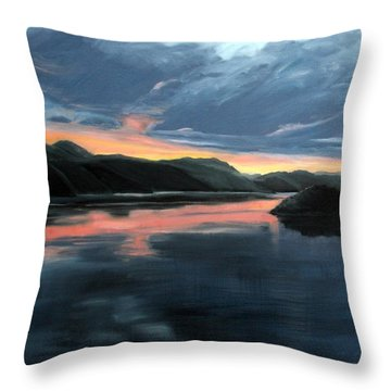 Throw Pillow featuring the painting Farsund Sunrise by Janet King