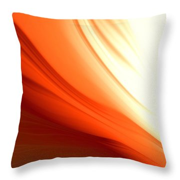 Throw Pillow featuring the digital art Glowing Orange Abstract by Gabriella Weninger - David