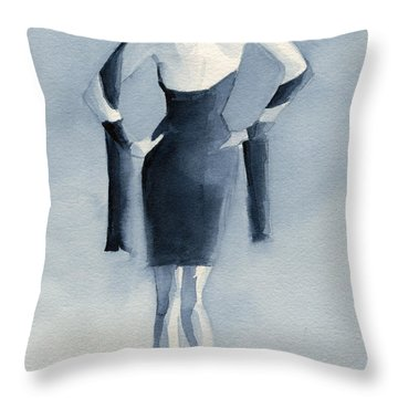 Fashion Illustration Art Print Woman In Blue Dress Back Throw Pillow by Beverly Brown