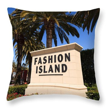 Fashion Island Sign In Orange County California Throw Pillow by Paul Velgos