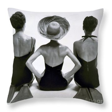 Fashion Models In Swim Suits, 1950 Throw Pillow