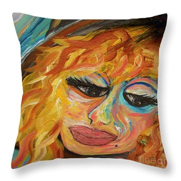 Fashionista - Mysterious Red Head Throw Pillow by Eloise Schneider