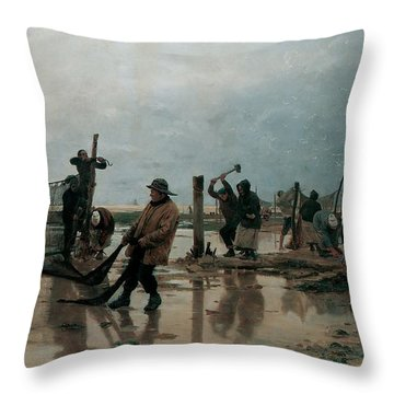 Fastening The Nets Throw Pillow by Edouard Joseph  Dantan