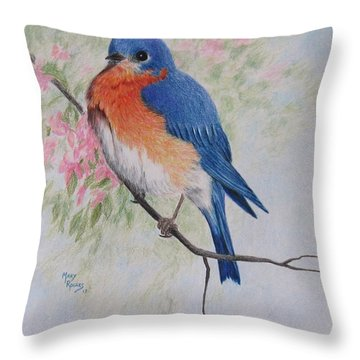 Fat And Fluffy Bluebird Throw Pillow by Mary Rogers