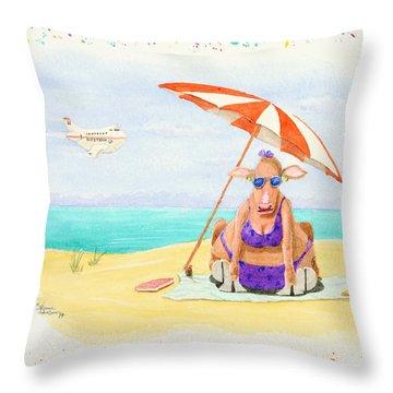 Fat Cow On A Beach 1 Throw Pillow