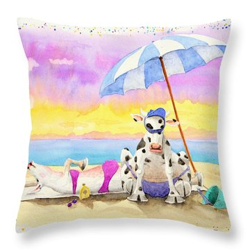 Fat Cows On A Beach 2 Throw Pillow