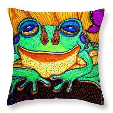 Fat Green Frog On A Sunflower Throw Pillow