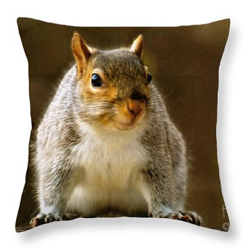 Fat 'n Sassy Smile Throw Pillow by Lois Bryan