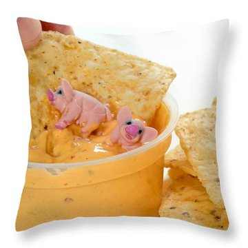 Fat Pigs 3 Throw Pillow by Amy Cicconi