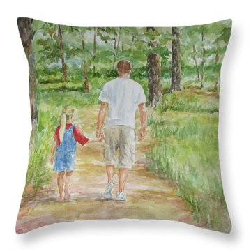 Father And Daughter Walk Throw Pillow