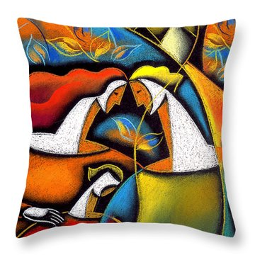 Father And Mother Throw Pillow by Leon Zernitsky
