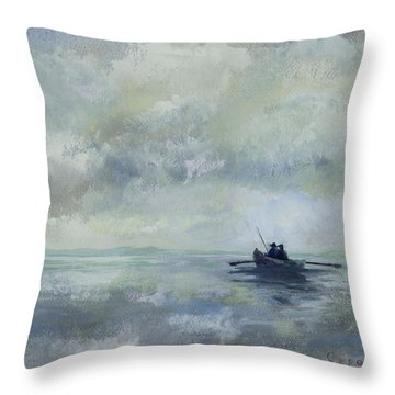 Father And Son Fishing Throw Pillow