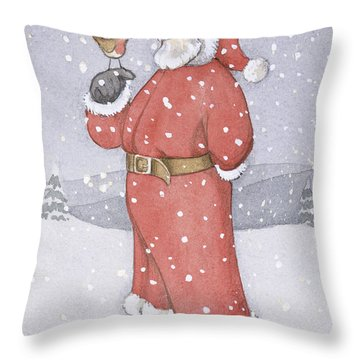 Father Christmas And A Robin Throw Pillow by Lavinia Hamer