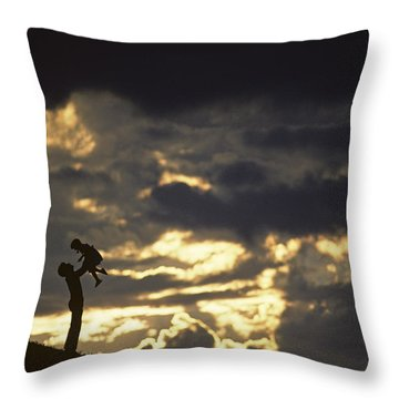 Father Holding Daughter Above His Head Along Hillside Silhouette Throw Pillow