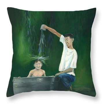 Throw Pillow featuring the painting Fatherly Fun by Dan Redmon
