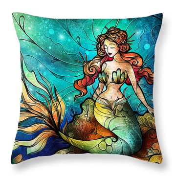 The Serene Siren Triptych Throw Pillow