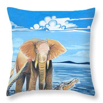 Faune D'afrique Centrale 02 Throw Pillow by Emmanuel Baliyanga