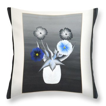 Throw Pillow featuring the painting Faux Flowers IIi by Ron Davidson