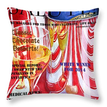 Faux Magazine Cover Throw Pillow by Mariarosa Rockefeller
