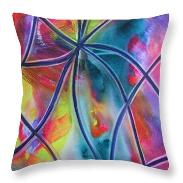 Faux Stained Glass 1 Throw Pillow