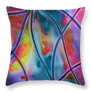 Faux Stained Glass II Throw Pillow