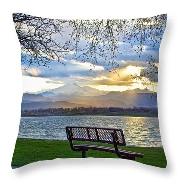 Favorite Bench And Lake View Throw Pillow by James BO  Insogna