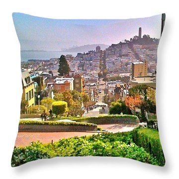 Favorite Places Lombard Street San Francisco California Throw Pillow