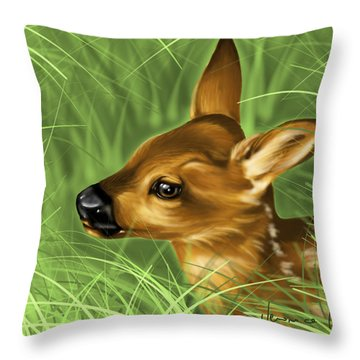 Fawn Throw Pillow by Veronica Minozzi