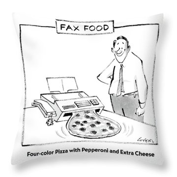 Fax Food 'four-color Pizza With Pepperoni Throw Pillow
