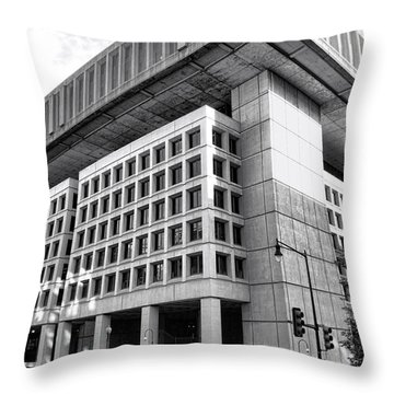 Fbi Building Rear View Throw Pillow by Olivier Le Queinec