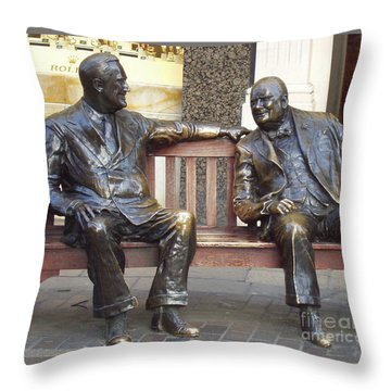 Fdr And Churchill Having A Chat In London Throw Pillow