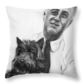 Fdr And Fala  Throw Pillow by Martha Suhocke