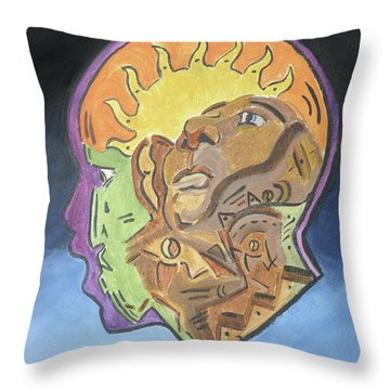 Throw Pillow featuring the painting Fear Of The Unknown by Dwayne Glapion