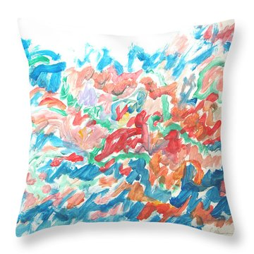 Feast Of Blue And Red Throw Pillow by Esther Newman-Cohen