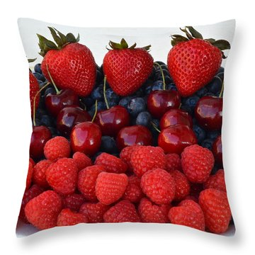 Feast Of Fruit Throw Pillow by Frozen in Time Fine Art Photography