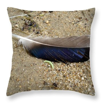 Feather And Inchworm Throw Pillow