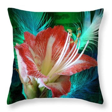Feathered Amaryllis Throw Pillow