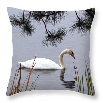 Feathered Friend Along The Shoreline Throw Pillow by Cedric Hampton
