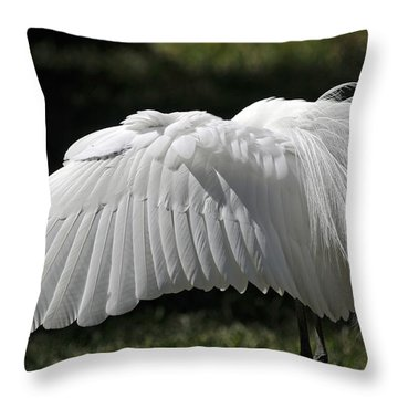Feathers Of The Great White Egret Throw Pillow