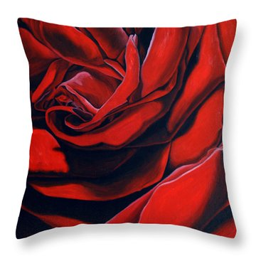 Throw Pillow featuring the painting February Rose by Thu Nguyen