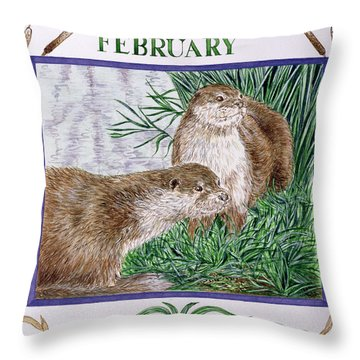 February Wc On Paper Throw Pillow by Catherine Bradbury