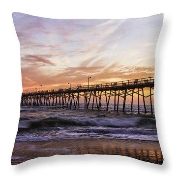 Febuary Sunset On Atlantic Beach Throw Pillow by Bob Decker