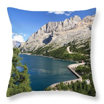 Throw Pillow featuring the photograph Fedaia Pass With Lake by Antonio Scarpi