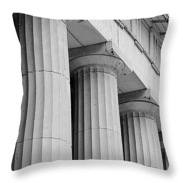 Federal Hall Columns Throw Pillow by Jerry Fornarotto