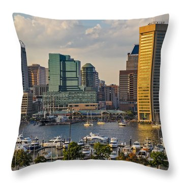 Federal Hill View To The Baltimore Skyline Throw Pillow