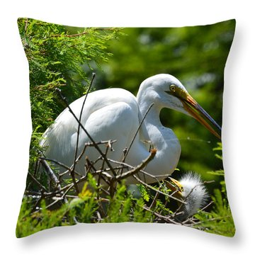 Feed Me Mom Throw Pillow by Judith Morris