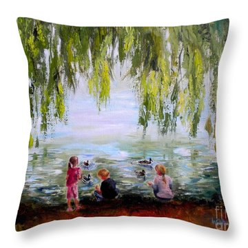 Feeding Ducks At Fort Dent Park Throw Pillow